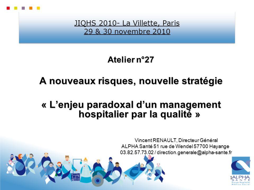 1 JIQHS 2010- La Villette, Paris 29 & 30 novembre 2010 Atelier n°27 A nouveaux risques, nouvelle stratégie « Lenjeu paradoxal dun management hospitali
