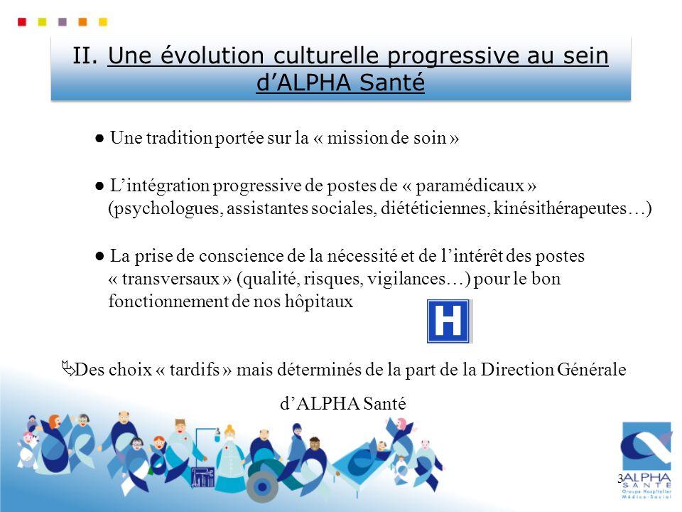 3 II. Une évolution culturelle progressive au sein dALPHA Santé Une tradition portée sur la « mission de soin » Lintégration progressive de postes de