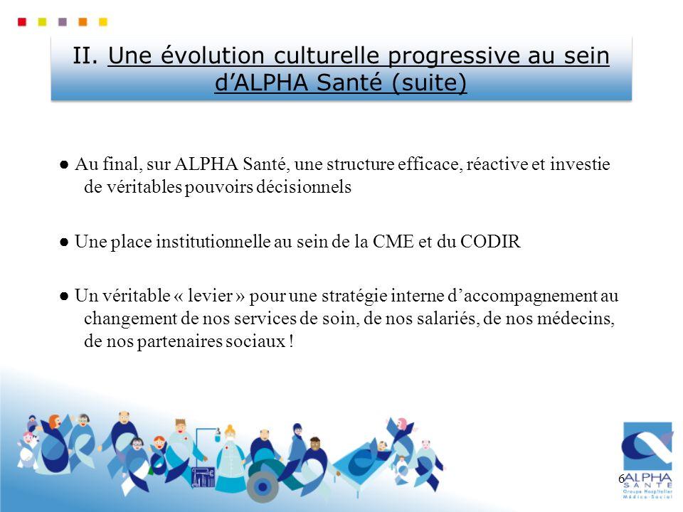 6 Au final, sur ALPHA Santé, une structure efficace, réactive et investie de véritables pouvoirs décisionnels Une place institutionnelle au sein de la