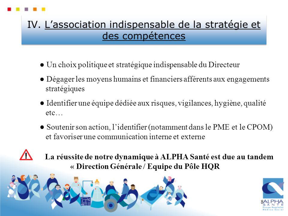 8 IV. Lassociation indispensable de la stratégie et des compétences Un choix politique et stratégique indispensable du Directeur Dégager les moyens hu