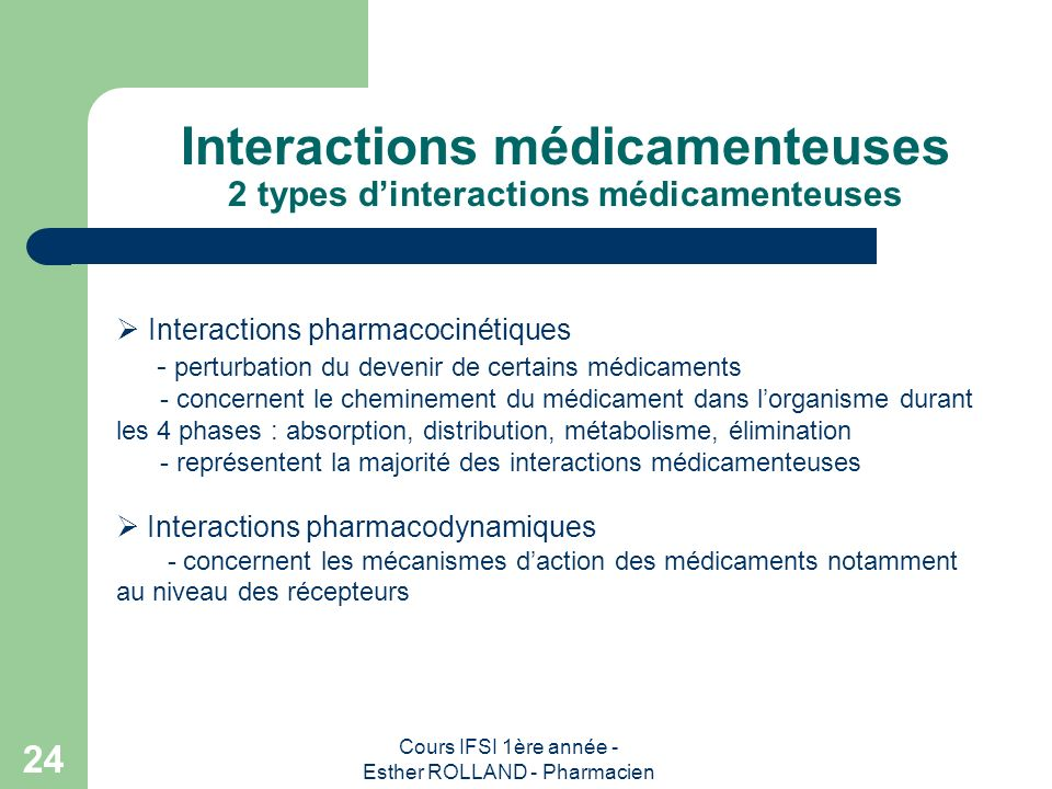 Cours IFSI 1ère année - Esther ROLLAND - Pharmacien 24 Interactions médicamenteuses 2 types dinteractions médicamenteuses Interactions pharmacocinétiq