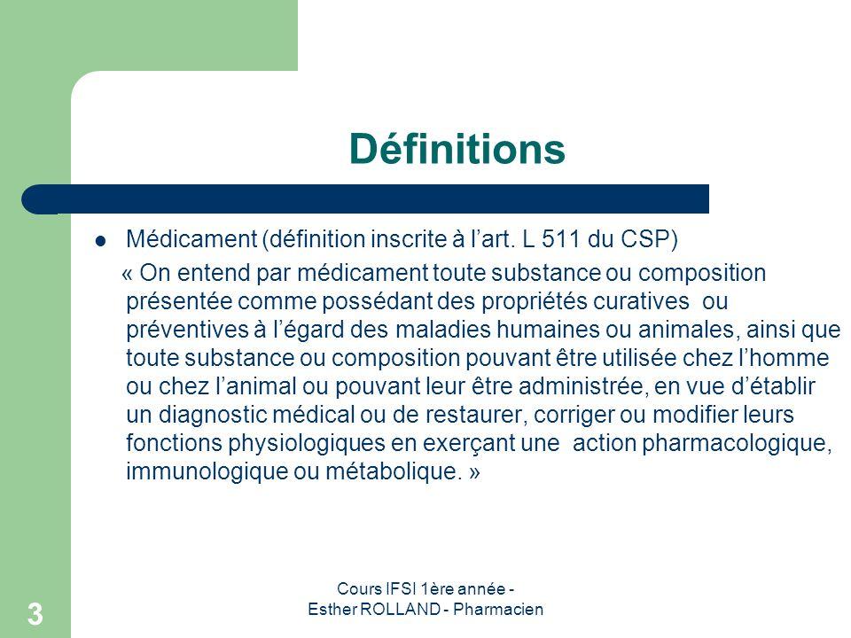 Cours IFSI 1ère année - Esther ROLLAND - Pharmacien 3 Définitions Médicament (définition inscrite à lart. L 511 du CSP) « On entend par médicament tou