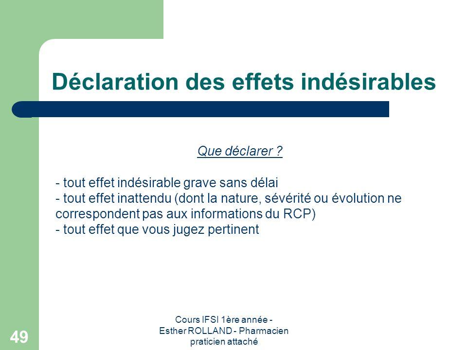 Cours IFSI 1ère année - Esther ROLLAND - Pharmacien praticien attaché 49 Déclaration des effets indésirables Que déclarer ? - tout effet indésirable g