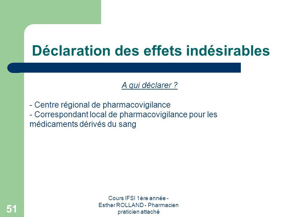 Cours IFSI 1ère année - Esther ROLLAND - Pharmacien praticien attaché 51 Déclaration des effets indésirables A qui déclarer ? - Centre régional de pha