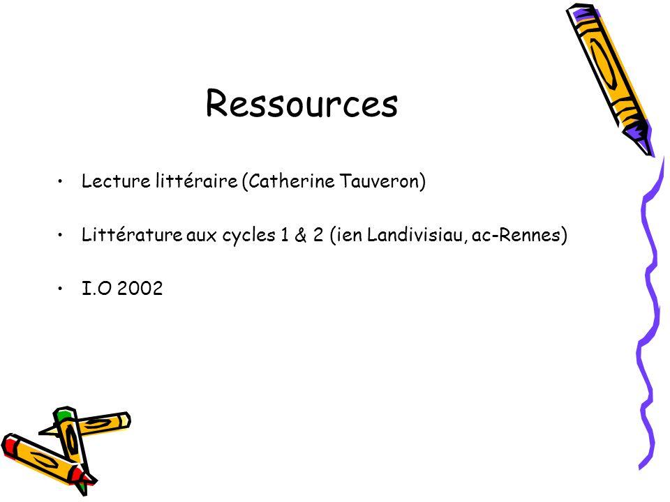Ressources Lecture littéraire (Catherine Tauveron) Littérature aux cycles 1 & 2 (ien Landivisiau, ac-Rennes) I.O 2002