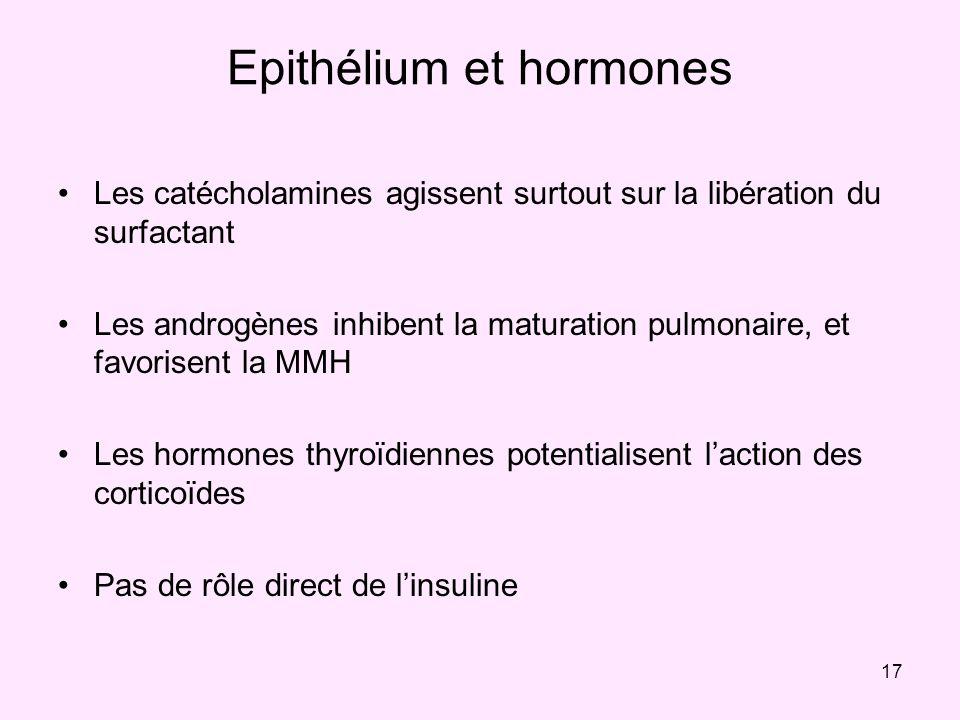 17 Epithélium et hormones Les catécholamines agissent surtout sur la libération du surfactant Les androgènes inhibent la maturation pulmonaire, et fav