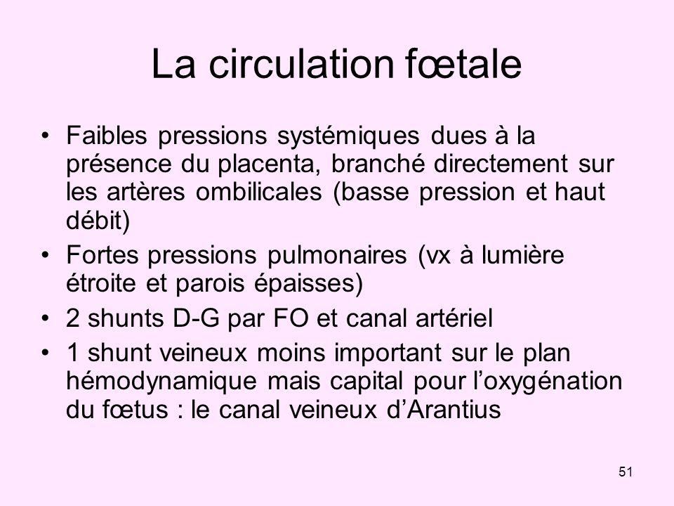 51 La circulation fœtale Faibles pressions systémiques dues à la présence du placenta, branché directement sur les artères ombilicales (basse pression