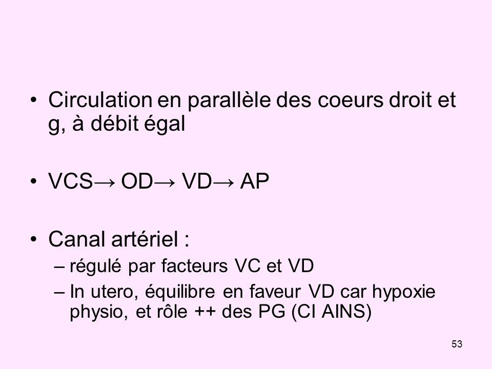 53 Circulation en parallèle des coeurs droit et g, à débit égal VCS OD VD AP Canal artériel : –régulé par facteurs VC et VD –In utero, équilibre en fa