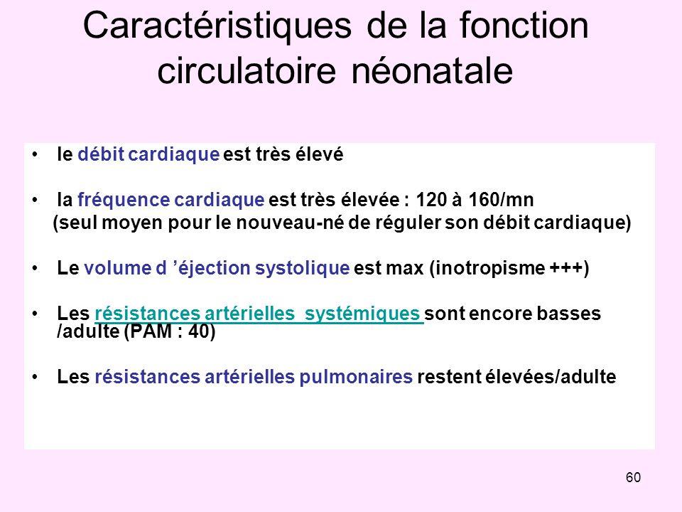 60 Caractéristiques de la fonction circulatoire néonatale le débit cardiaque est très élevé la fréquence cardiaque est très élevée : 120 à 160/mn (seu