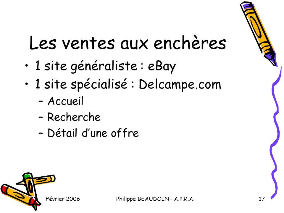 Février 2006Philippe BEAUDOIN – A.P.R.A.17 Les ventes aux enchères 1 site généraliste : eBay 1 site spécialisé : Delcampe.com –Accueil –Recherche –Détail dune offre