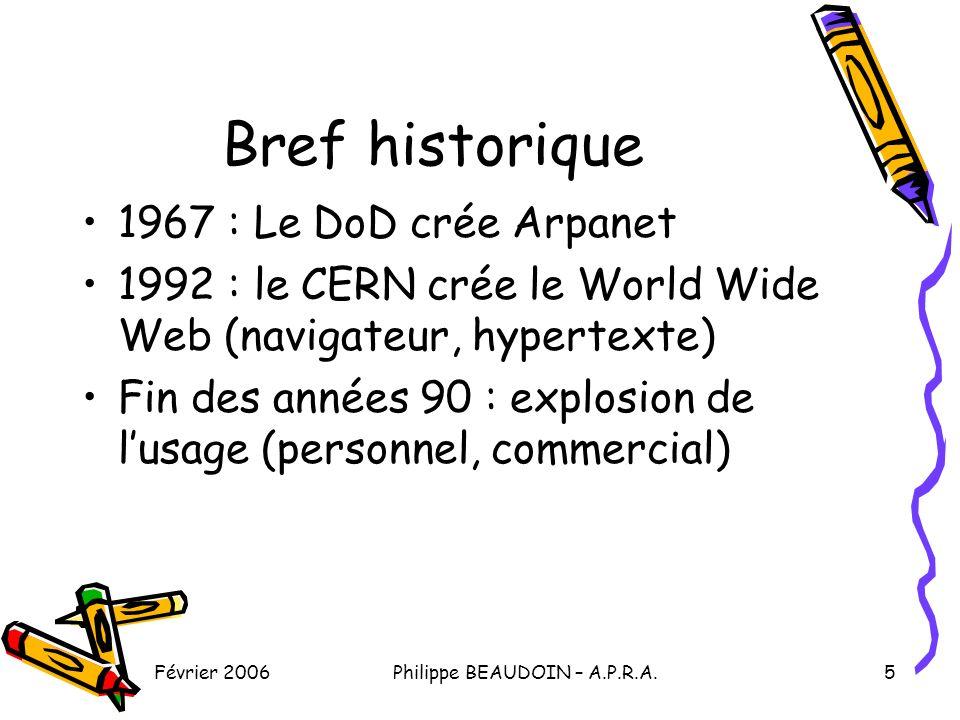 Février 2006Philippe BEAUDOIN – A.P.R.A.6 Les services disponibles Le Web : –Des milliards de pages consultables –De plus en plus de services interactifs La messagerie La messagerie instantanée, les forums, les visio-conférences…