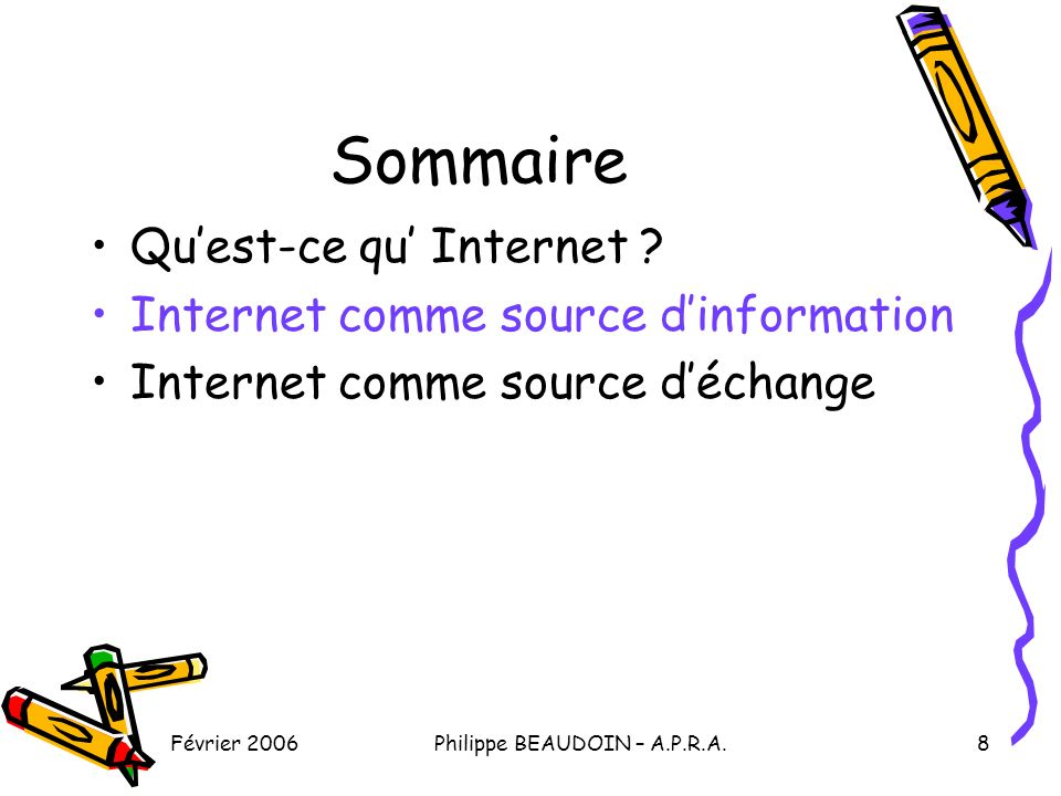 Février 2006Philippe BEAUDOIN – A.P.R.A.8 Sommaire Quest-ce qu Internet .