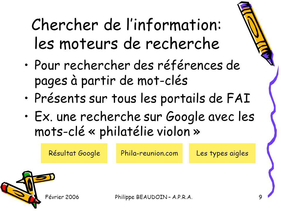 Février 2006Philippe BEAUDOIN – A.P.R.A.9 Chercher de linformation: les moteurs de recherche Pour rechercher des références de pages à partir de mot-clés Présents sur tous les portails de FAI Ex.