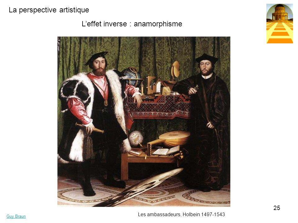 La perspective artistique Guy Braun 25 Leffet inverse : anamorphisme Les ambassadeurs, Holbein 1497-1543