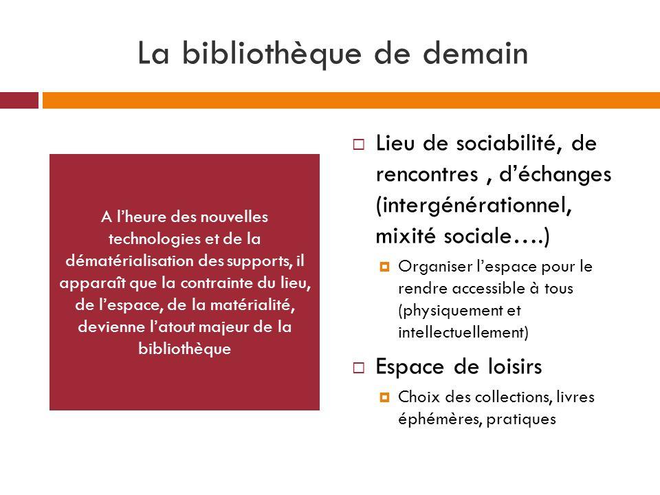 La bibliothèque de demain Lieu de sociabilité, de rencontres, déchanges (intergénérationnel, mixité sociale….) Organiser lespace pour le rendre access