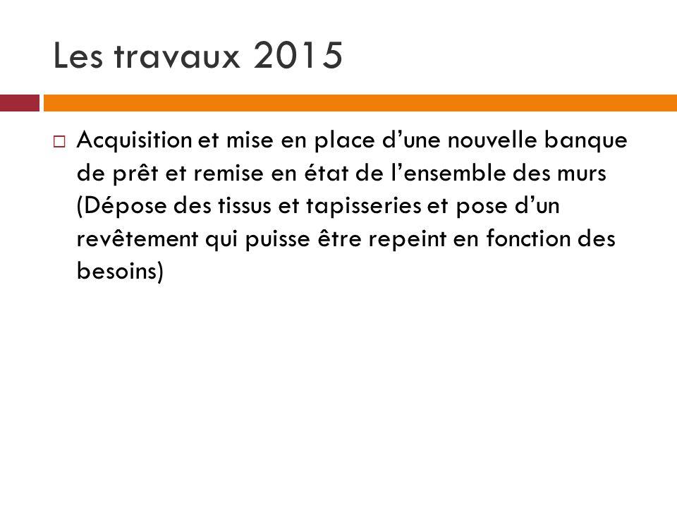 Les travaux 2015 Acquisition et mise en place dune nouvelle banque de prêt et remise en état de lensemble des murs (Dépose des tissus et tapisseries e