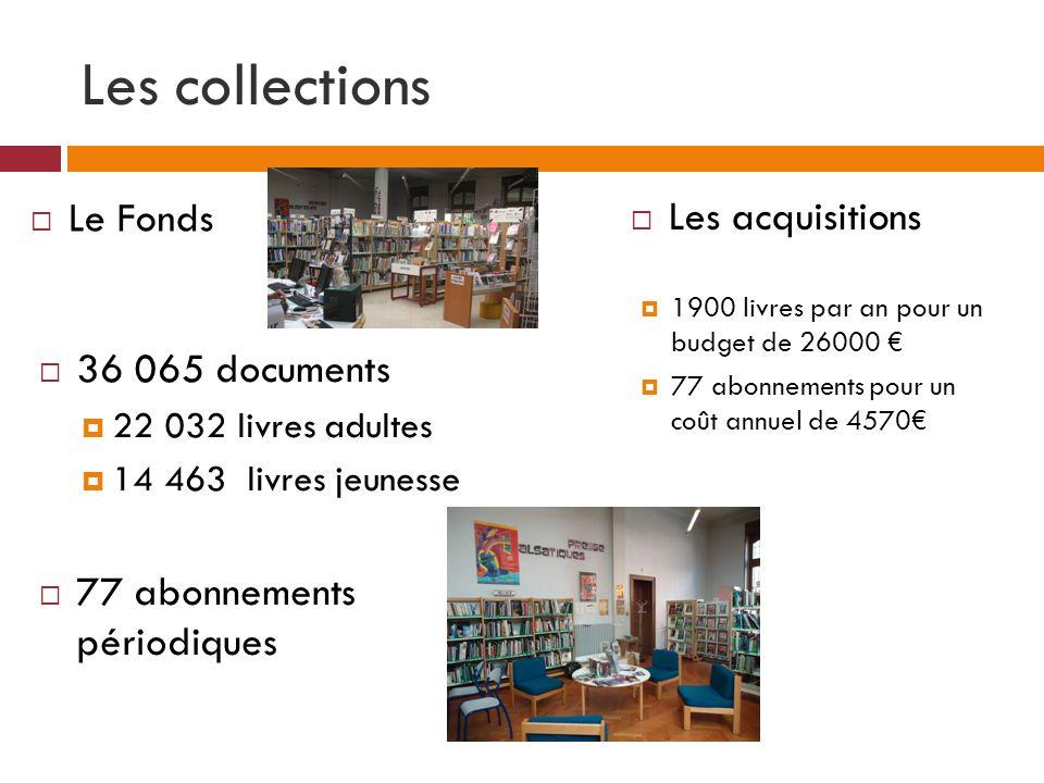Les collections 36 065 documents 22 032 livres adultes 14 463 livres jeunesse 77 abonnements périodiques 1900 livres par an pour un budget de 26000 77