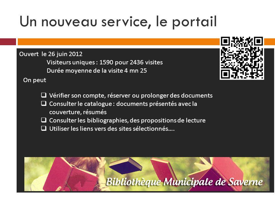 Un nouveau service, le portail Ouvert le 26 juin 2012 Visiteurs uniques : 1590 pour 2436 visites Durée moyenne de la visite 4 mn 25 Vérifier son compt