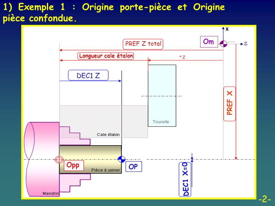 -2- 1) Exemple 1 : Origine porte-pièce et Origine pièce confondue. PREF Z total Longueur cale étalon DEC1 Z x Opp OP DEC1 X=0 PREF X Om