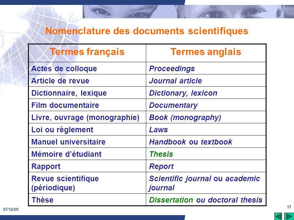 07/12/09 17 Nomenclature des documents scientifiques Termes françaisTermes anglais Actes de colloqueProceedings Article de revueJournal article Dictio