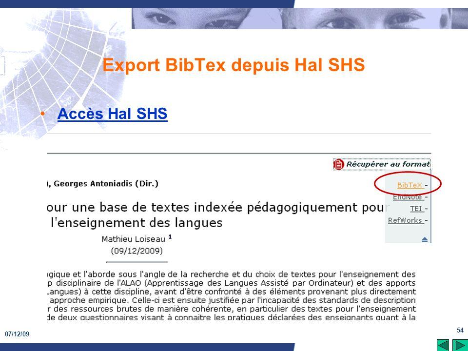 07/12/09 54 Export BibTex depuis Hal SHS Accès Hal SHS