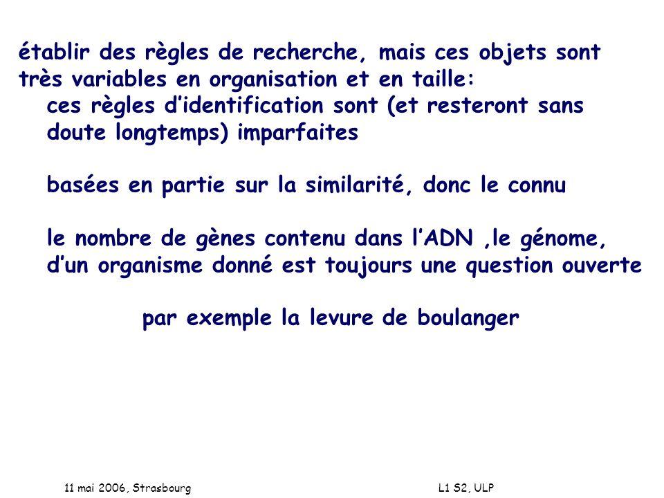 11 mai 2006, Strasbourg L1 S2, ULP établir des règles de recherche, mais ces objets sont très variables en organisation et en taille: ces règles diden