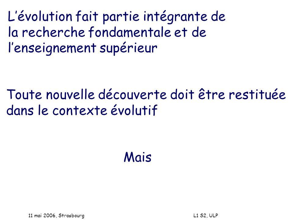 11 mai 2006, Strasbourg L1 S2, ULP Lévolution fait partie intégrante de la recherche fondamentale et de lenseignement supérieur Toute nouvelle découve