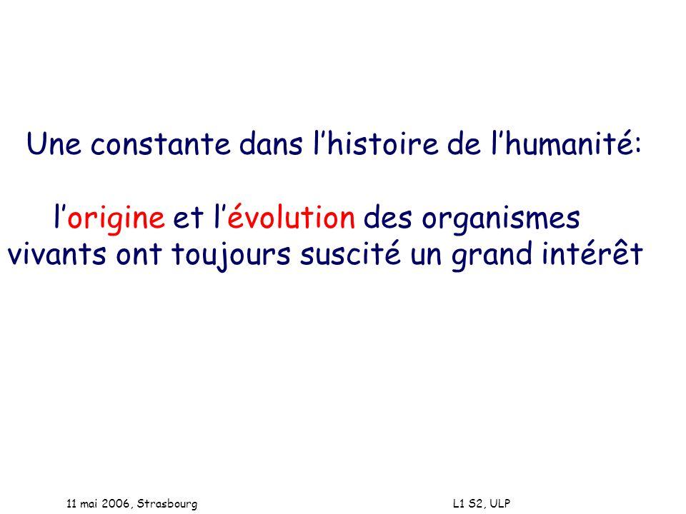 11 mai 2006, Strasbourg L1 S2, ULP Une constante dans lhistoire de lhumanité: lorigine et lévolution des organismes vivants ont toujours suscité un gr