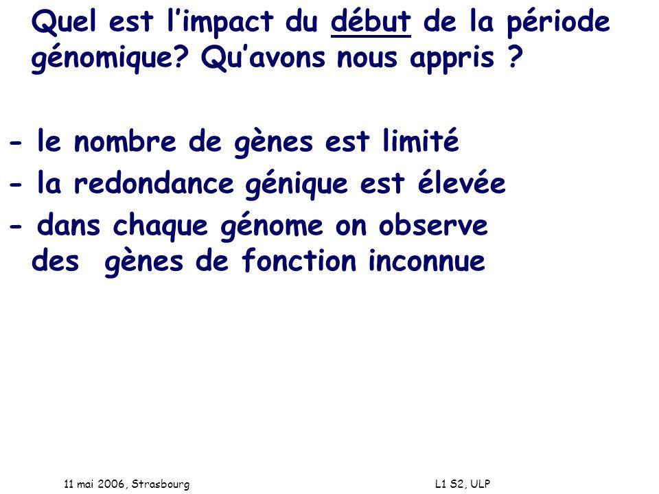 11 mai 2006, Strasbourg L1 S2, ULP Quel est limpact du début de la période génomique? Quavons nous appris ? - le nombre de gènes est limité - la redon