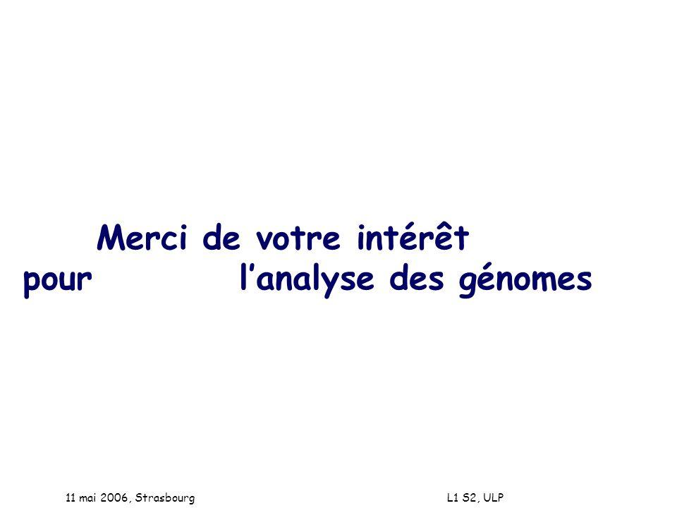 11 mai 2006, Strasbourg L1 S2, ULP Merci de votre intérêt pour lanalyse des génomes