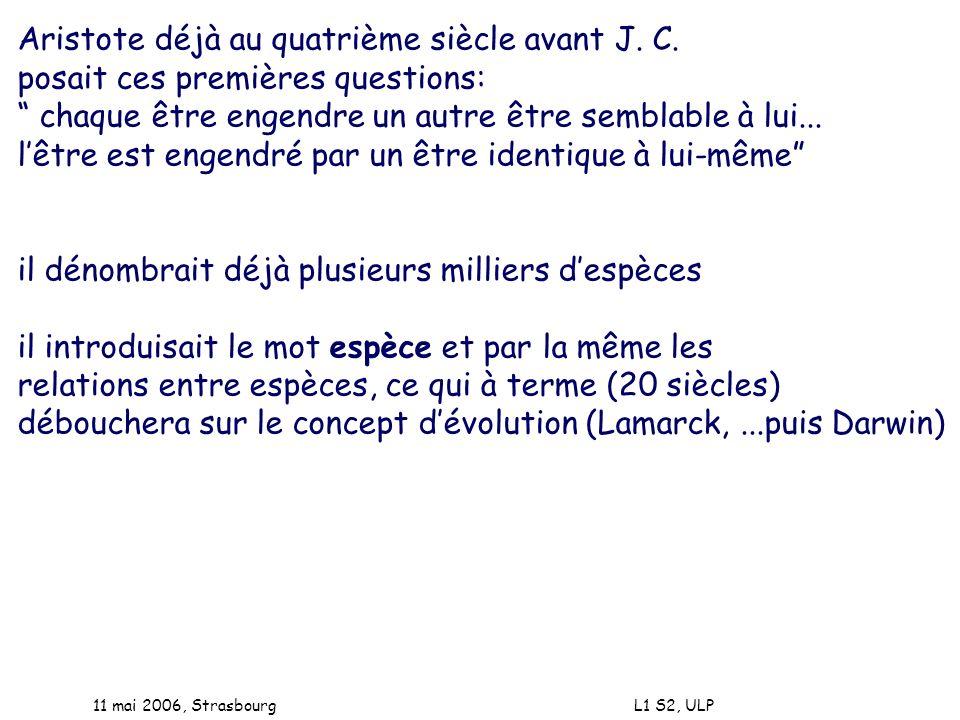 11 mai 2006, Strasbourg L1 S2, ULP Aristote déjà au quatrième siècle avant J. C. posait ces premières questions: chaque être engendre un autre être se