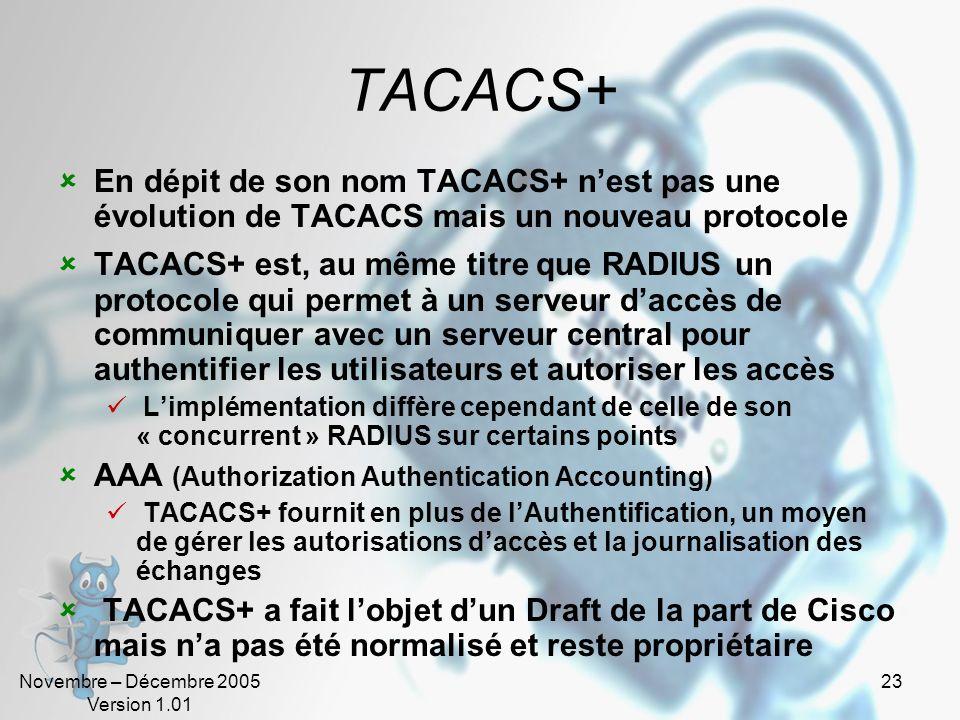 Novembre – Décembre 2005 Version 1.01 22 TACACS TACACS (Terminal Access Controller Access Control System) TACACS est un ancien protocole du monde Unix