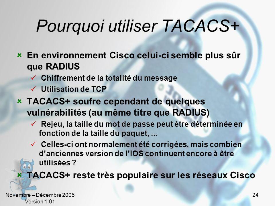 Novembre – Décembre 2005 Version 1.01 23 TACACS+ En dépit de son nom TACACS+ nest pas une évolution de TACACS mais un nouveau protocole TACACS+ est, a