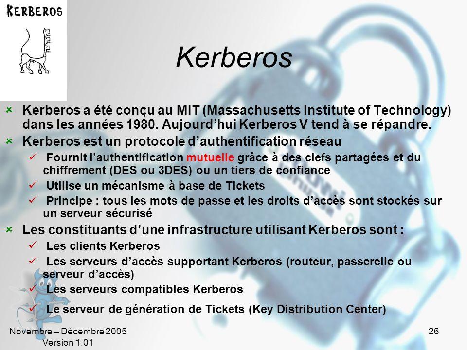 Novembre – Décembre 2005 Version 1.01 25 RADIUS/TACACS+ Radius Utilise UDP Publique, normalisé, forte interopérabilité et modularité Plus léger que TA