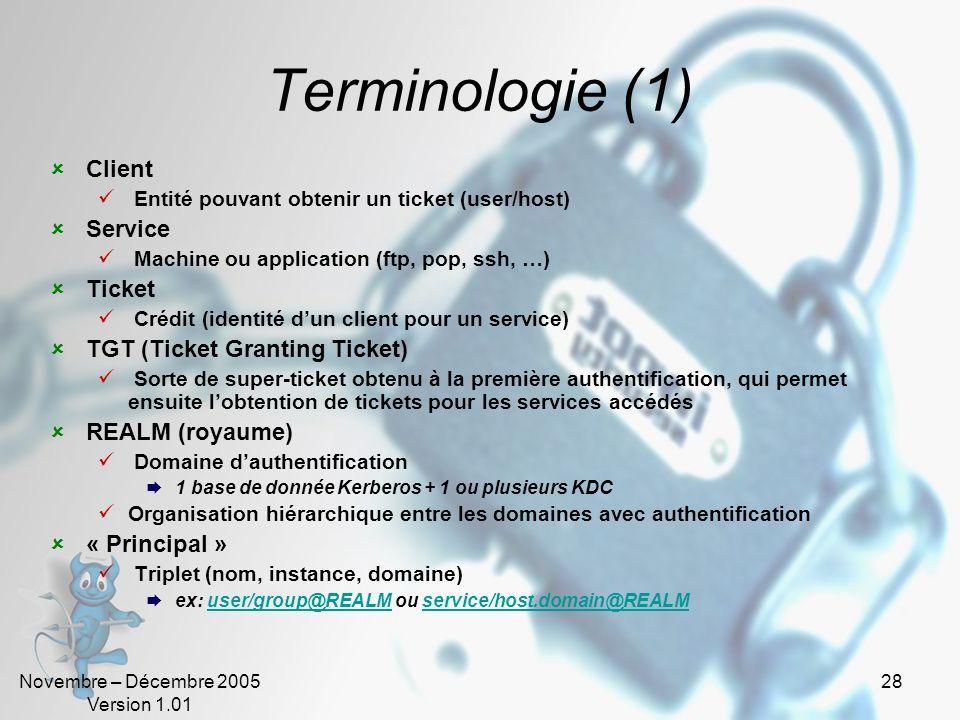 Novembre – Décembre 2005 Version 1.01 27 Pourquoi utiliser Kerberos Authentification mutuelle sécurisée Chiffrement des échanges Pas de transmission d