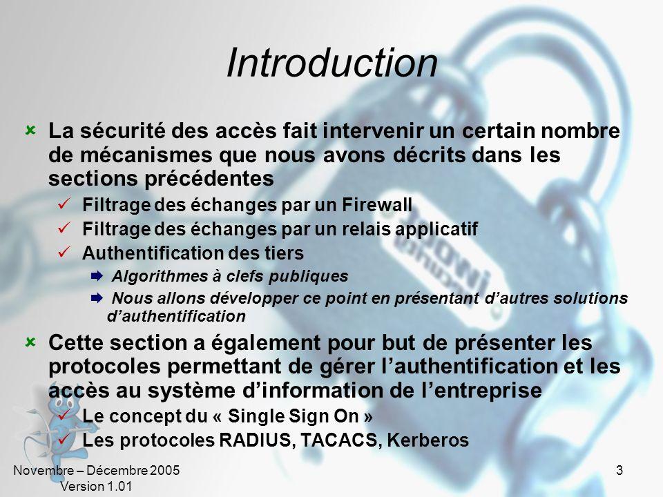 Novembre – Décembre 2005 Version 1.01 2 Sommaire Sécurité des Accès Authentification Mots de passe Authentification/Authentification forte Les protoco