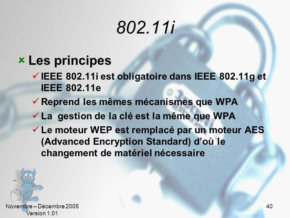 Novembre – Décembre 2005 Version 1.01 39 WPA Wi-Fi Protected Access Conçu par la WiFi Alliance pour remplacer le protocole Wired Equivalent Privacy Co