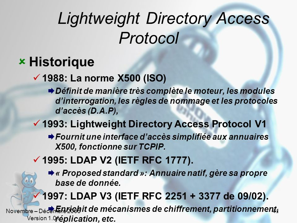 Novembre – Décembre 2005 Version 1.01 40 802.11i Les principes IEEE 802.11i est obligatoire dans IEEE 802.11g et IEEE 802.11e Reprend les mêmes mécani