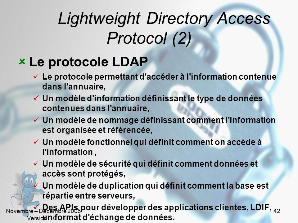 Novembre – Décembre 2005 Version 1.01 41 Lightweight Directory Access Protocol Historique 1988: La norme X500 (ISO) Définit de manière très complète l