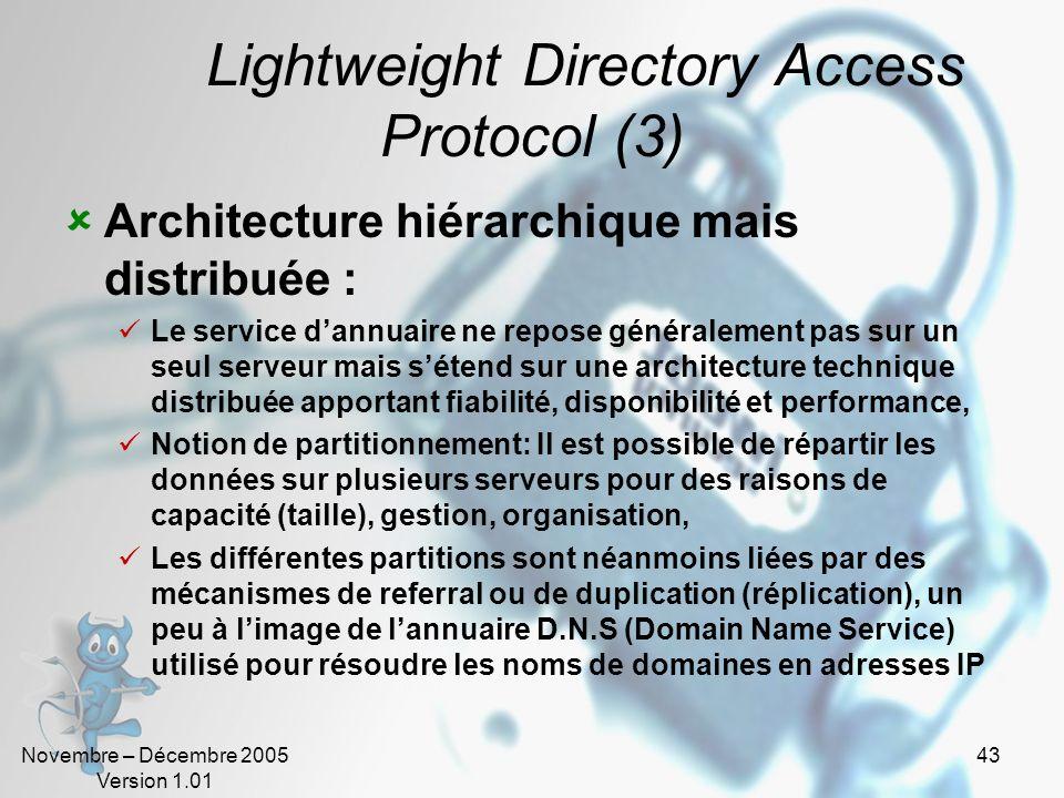 Novembre – Décembre 2005 Version 1.01 42 Lightweight Directory Access Protocol (2) Le protocole LDAP Le protocole permettant d'accéder à l'information