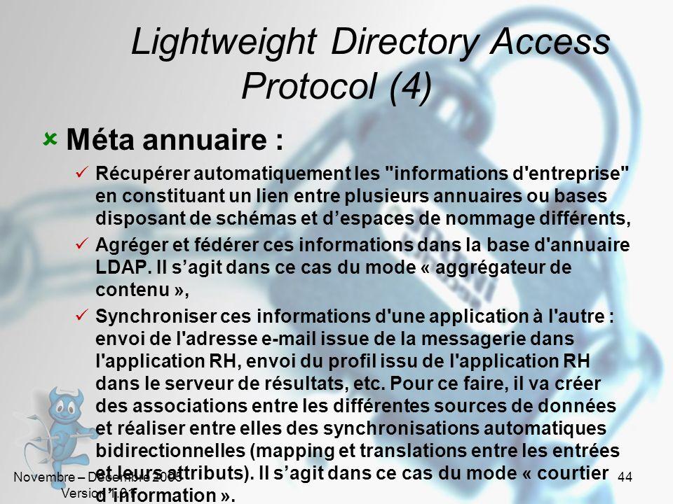 Novembre – Décembre 2005 Version 1.01 43 Lightweight Directory Access Protocol (3) Architecture hiérarchique mais distribuée : Le service dannuaire ne