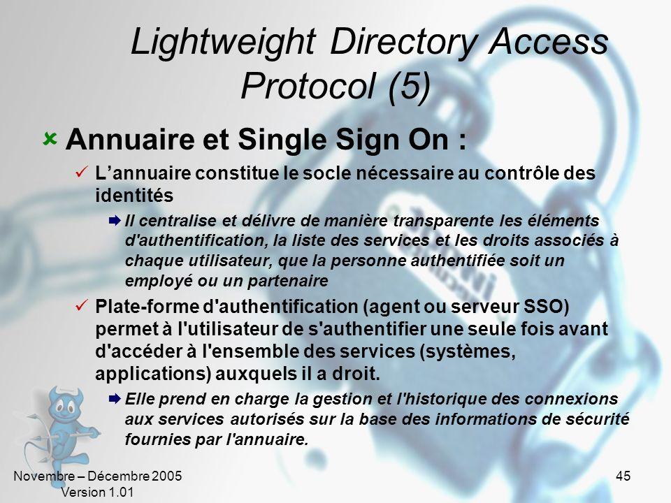 Novembre – Décembre 2005 Version 1.01 44 Lightweight Directory Access Protocol (4) Méta annuaire : Récupérer automatiquement les