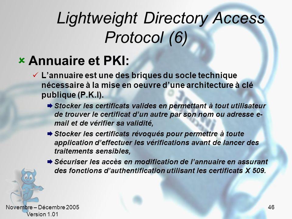 Novembre – Décembre 2005 Version 1.01 45 Lightweight Directory Access Protocol (5) Annuaire et Single Sign On : Lannuaire constitue le socle nécessair