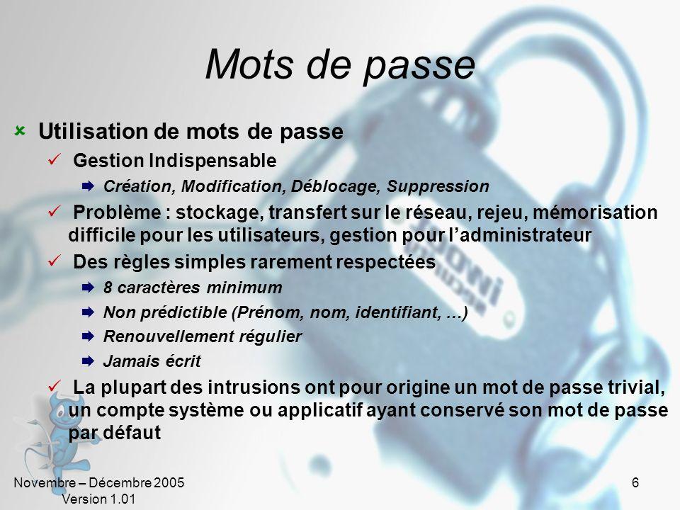 Novembre – Décembre 2005 Version 1.01 5 Authentification – Bases (2) Trois méthodes dauthentification La connaissance Secret connu (ex : mot de passe)
