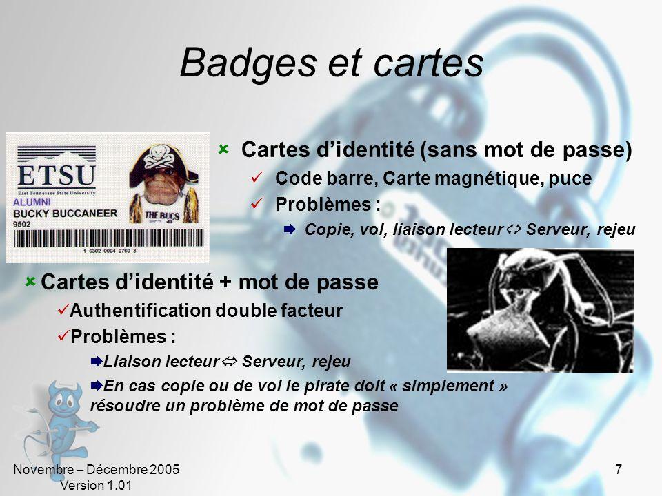 Novembre – Décembre 2005 Version 1.01 6 Mots de passe Utilisation de mots de passe Gestion Indispensable Création, Modification, Déblocage, Suppressio