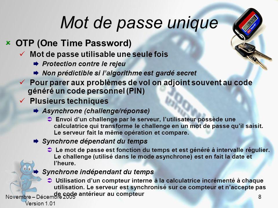 Novembre – Décembre 2005 Version 1.01 7 Badges et cartes Cartes didentité (sans mot de passe) Code barre, Carte magnétique, puce Problèmes : Copie, vo