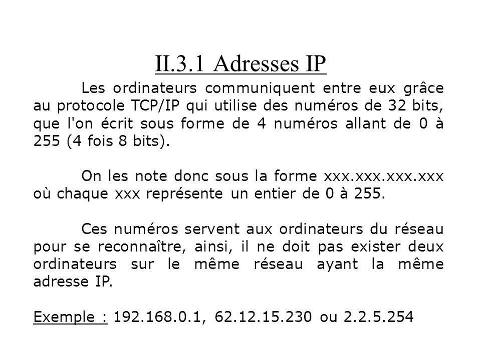 II.3.1 Adresses IP Les ordinateurs communiquent entre eux grâce au protocole TCP/IP qui utilise des numéros de 32 bits, que l'on écrit sous forme de 4