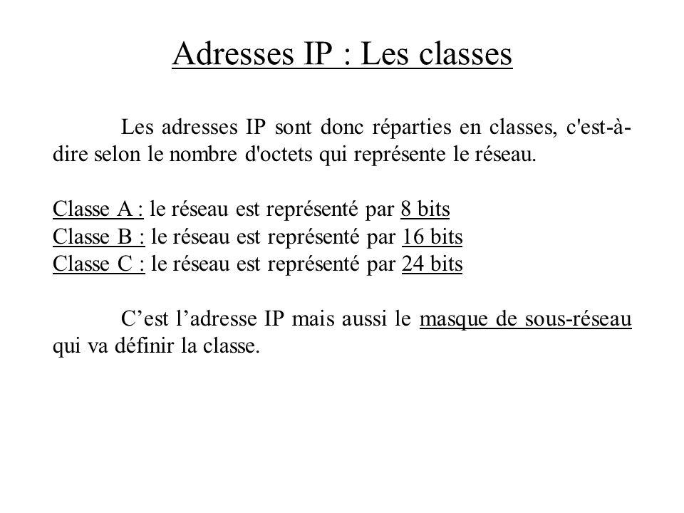 Adresses IP : Les classes Les adresses IP sont donc réparties en classes, c'est-à- dire selon le nombre d'octets qui représente le réseau. Classe A :