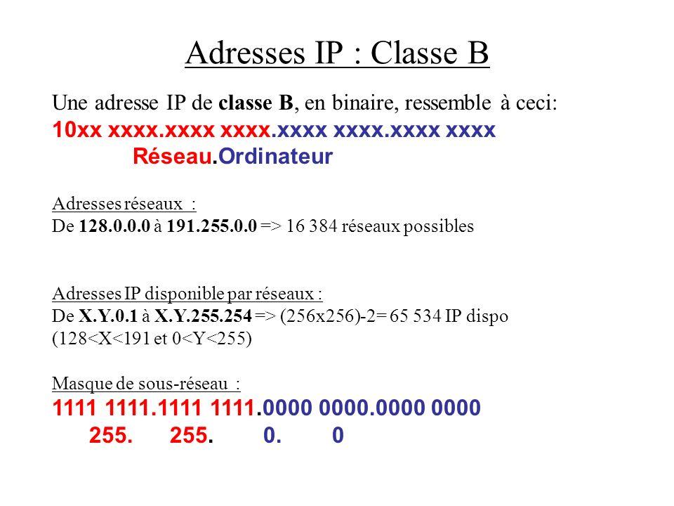 Adresses IP : Classe B Une adresse IP de classe B, en binaire, ressemble à ceci: 10xx xxxx.xxxx xxxx.xxxx xxxx.xxxx xxxx Réseau.Ordinateur Adresses ré