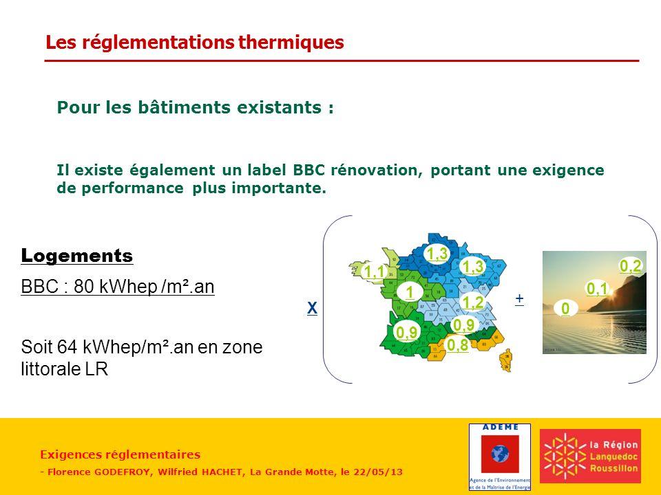 Exigences réglementaires - Florence GODEFROY, Wilfried HACHET, La Grande Motte, le 22/05/13 Pour les bâtiments existants : Il existe également un labe